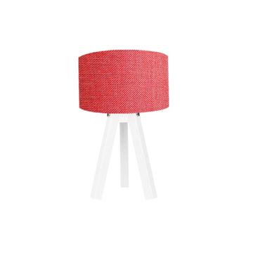 Resim Kumaş Başlıklı 3 Ayaklı Tripod Abajur - Kırmızı / Beyaz