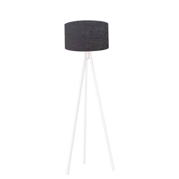 Resim Kumaş Başlıklı 3 Ayaklı Tripod Lambader -  Siyah / Beyaz
