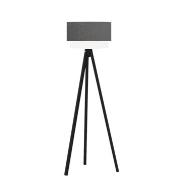 Resim Pasta Kumaş Başlıklı 3 Ayaklı Tripod Lambader - Gri  / Siyah