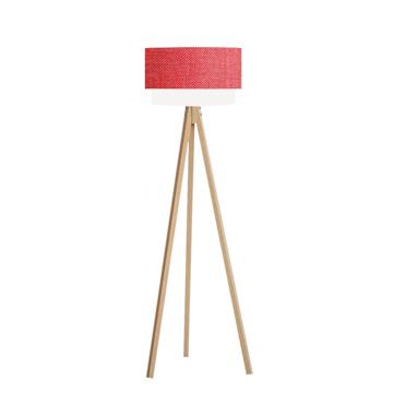 Resim Pasta Kumaş Başlıklı 3 Ayaklı Tripod Lambader - Kırmızı / Naturel