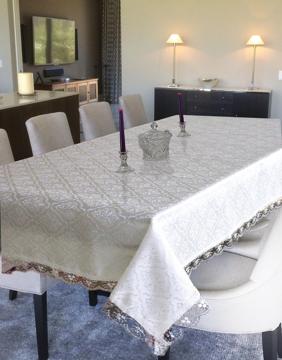 Resim Alas Kdk Güpürlü Masa Örtüsü 160*Yuvarlak Cm Beyaz