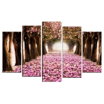 Resim 5 Parça Dekoratif Tablo-Çiçekli Yol