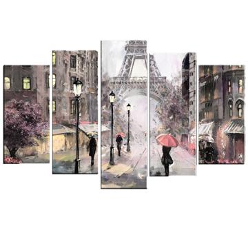 Resim 5 Parça Dekoratif Tablo-Paris-1