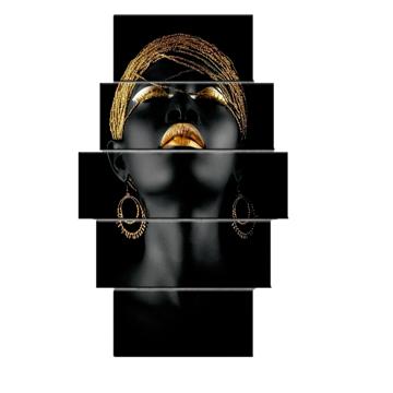 Resim 5 Parça Dekoratif Tablo-Zenci Kadın-3