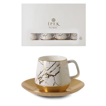 Resim Mermer Desenli Porselen Kahve Fincan Takımı
