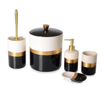 Resim 5 Parça Altın Yaldızlı Porselen Banyo Seti
